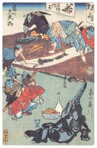 Meeting de calligraphie et peinture. Estampe populaire japonaise.